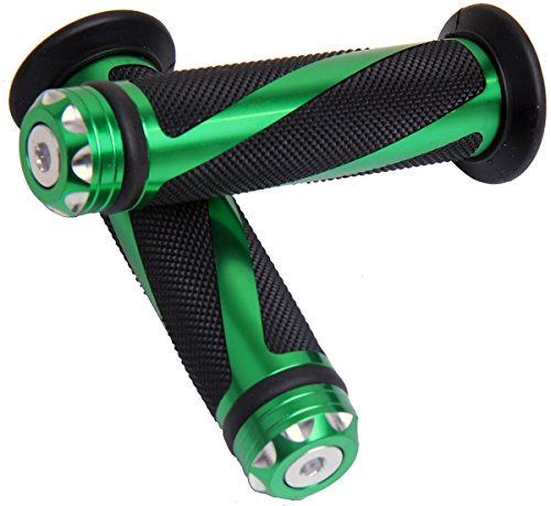 Green Motorcycle 78 22mm Handle Bar Grips with End for 1999 Buell Lightning X1