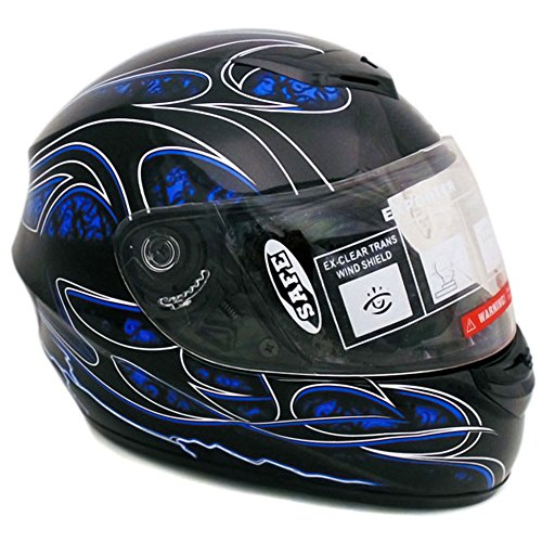 Motorcycle Full Face Helmet DOT Street Legal 2 Visors Comes with Clear Shield and Free Smoked Shield - Tribal Blue Large