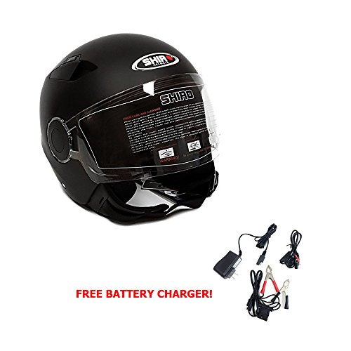 Motorcycle Open Face Helmet Jet Pilot - Shiro - Dot Approved - Matte Black – S (free Battery Charger Included)
