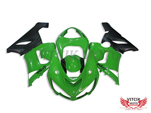 VITCIK Fairing Kits Fit for Kawasaki ZX6R ZX-6R Ninja 636 2005 2006 ZX6R ZX-6R Ninja 636 05 06 Plastic ABS Injection Mold Complete Motorcycle Body Aftermarket Bodywork Frame Green Black A016