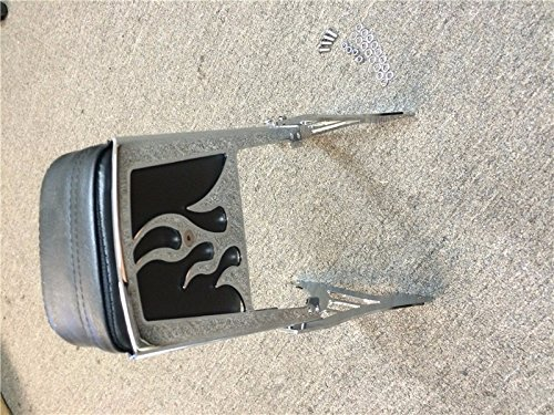 HTT Group Motorcycle Chrome Flame Backrest Sissy Bar With Leather Pad For 1995-2003 Harley Davidson Sportster 883 XL883 1200 XL1200