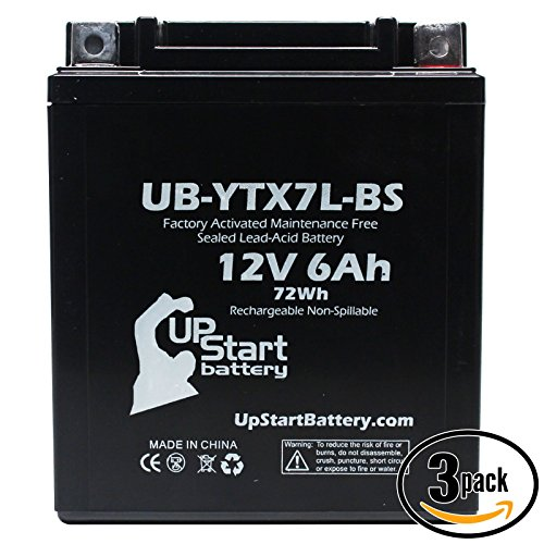 3-Pack Replacement 2006 Kawasaki EX250 Ninja 250CC Factory Activated Maintenance Free Motorcycle Battery - 12V 6Ah UB-YTX7L-BS