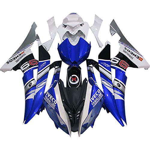 Fit for Yamaha 2008-2015 YZF R6 ABS Bodywork Injection Blue White Fairing Kit
