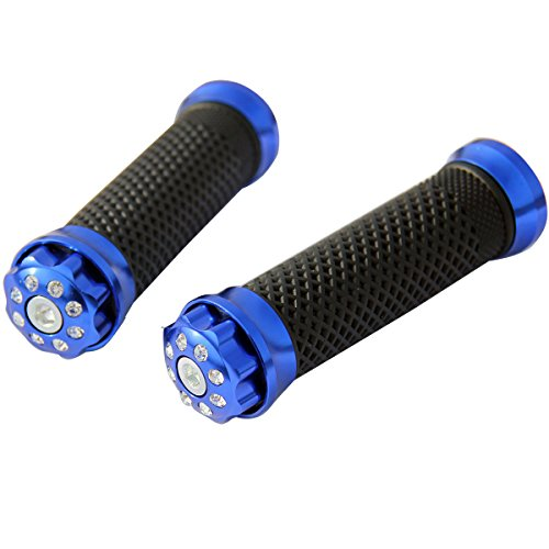 ALUMINUM MOTORCYCLE 78 22MM HANDLEBAR GEL RUBBER HAND GRIPS BLUE WITH SHINING DIAMOND CNC BAR END CAP FOR 2006 Suzuki DRZ400SM