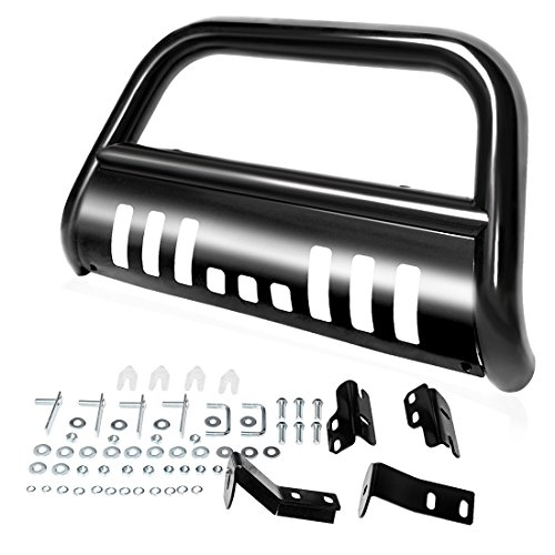 AUTOSAVER88 Bull Bar Compatible for 2004-2020 Ford F150 Black HD Heavyduty 3 Tube Brush Push Front Bumper Grill Grille Guard with Skid Plate