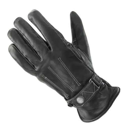 Xelement UK491 Womens Black Classic Button Snap Leather Motorcycle Gloves - Small