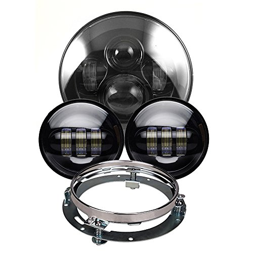 Black Daymaker Harley LED Headlight with 45 inch Matching Black Passing Fog Lamps for Harley Davidson Motorcycles with Mounting Bracket and Wire adapter
