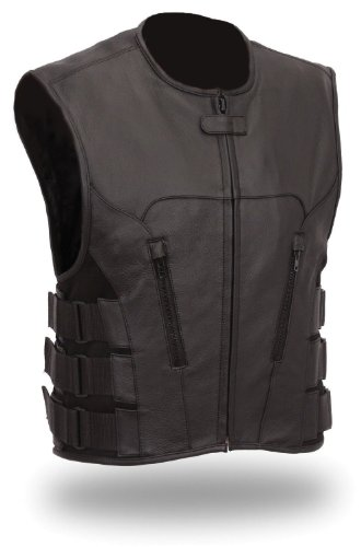The Nekid Cow Mens Updated SWAT Team Leather Motorcycle Vest Soft Buffalo LeatherBlack Medium -GUARANTEED - Tactical Outlaw Black Biker Vests for Men - Law Enforcement Style Protective Side Adjustment Soft Leather Bonus 151 page Motorcycle Restorati