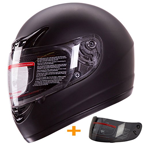 Matte Black Full Face Motorcycle Helmet DOT 2 Visor Large
