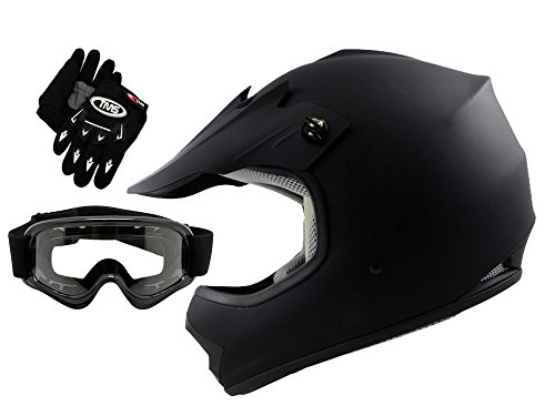 TMS Youth Kids Flat Matte Black ATV Motocross Helmet with Goggles and Gloves Medium
