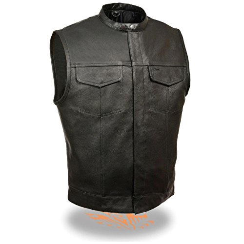 Milwaukee Leather Mens Snap Collar Concealed Black Leather Vest - Large