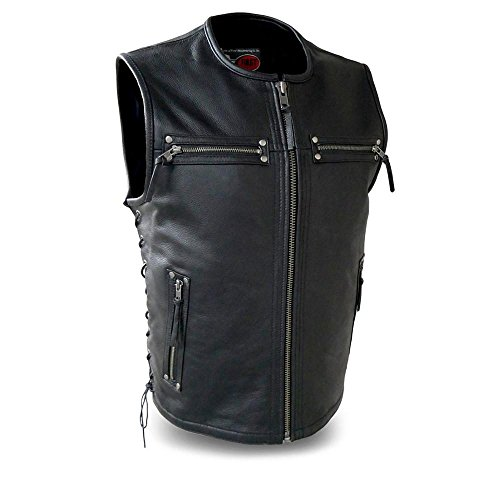 First Manufacturing mens Brawler Leather VestBlackXX-Large1 Pack
