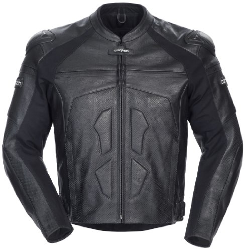 Cortech Mens Adrenaline Leather Riding Jacket Black Small