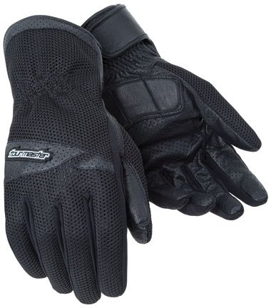 Tour Master Dri-Mesh Mens LeatherTextile Street Bike Racing Motorcycle Gloves - Black  X-Large