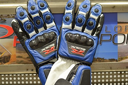 Suzuki GSXR Leather Carbon Fiber Knuckle Motorcycle Riding Gloves XL