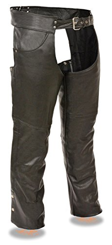 MENS MOTORCYCLE JEAN POCKET STYLE MESH LINED SOFT LEATHER CHAP WSIDE ZIPPER XS Regular