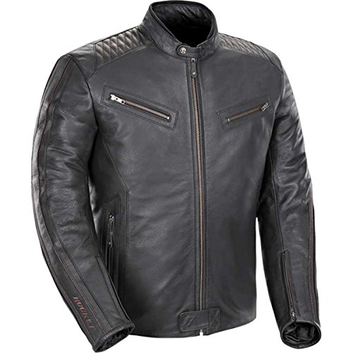 Joe Rocket Vintage Rocket Mens Leather Street Motorcycle Jacket - BlackBlack  X-Large