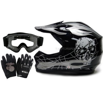 TMS Youth Kids Black Silver Skull Flame Motocross Helmet with Goggles and Gloves Medium