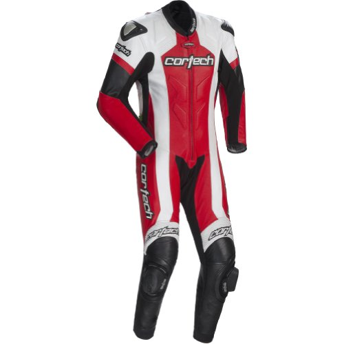 Cortech Adrenaline Mens 1-Piece Leather Sports Bike Racing Motorcycle Race Suit - WhiteRed  Large