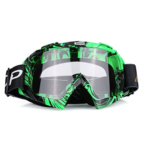 Qiilu Motorcycle Motocross Off Road Dirt Bike Racing Goggles Glasses Eyes ProtectionGreen and white