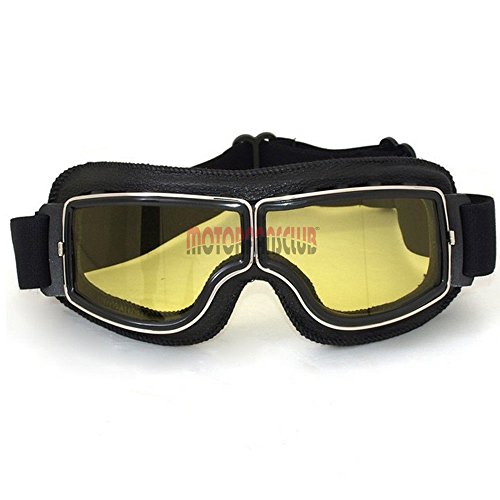 MotorFanClub Pilot-Style Leather Motorcycle Goggles Protective Eyes Glasses for Outdoor Sports Motocross RacerYellow