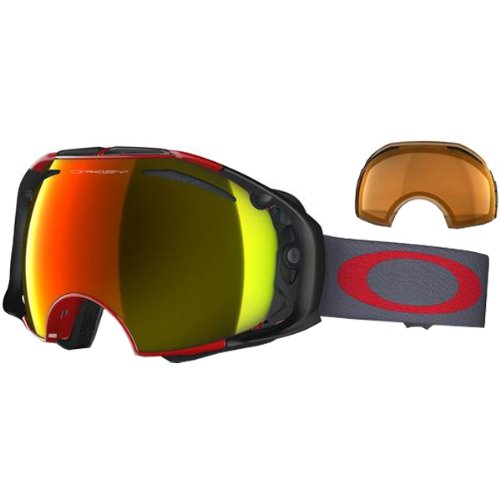 Oakley Airbrake Viper Adult Snow Snowmobile Goggles Eyewear - RedFire Iridium Persimmon  One Size Fits All