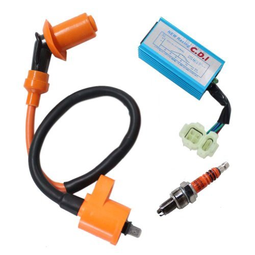 Poweka Performance Racking Round Ac Fired 6 Pins Cdi  Ignition Coil  3 Elecrode Spark Plug for Chinese 50cc 125cc 150cc Gy6 Moped Scooter Go Kart