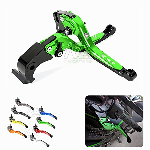 Motorcycle CNC Folding Extendable Adjustable Clutch Brake Levers For Kawasaki Z1000 2007-2016 Green