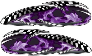 Real Fire Purple Custom Motorcycle Gas Tank Graphics - 35 h x 12 w - REFLECTIVE