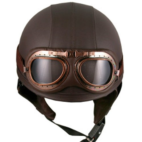 Leather Goggles German Vintage Style Half 12 Helmet Motorcycle Biker Cruiser Scooter Touring Helmet Brown