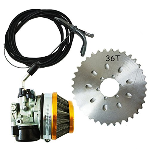 2 Stroke 50cc 66c 80cc Racing Carb Air Filter Kit 36T Sprocket Engine Motor Part