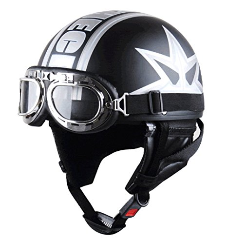 Fatmingo Half Helmet Motorcycle German Style High Strength Abs With Goggles,5styles