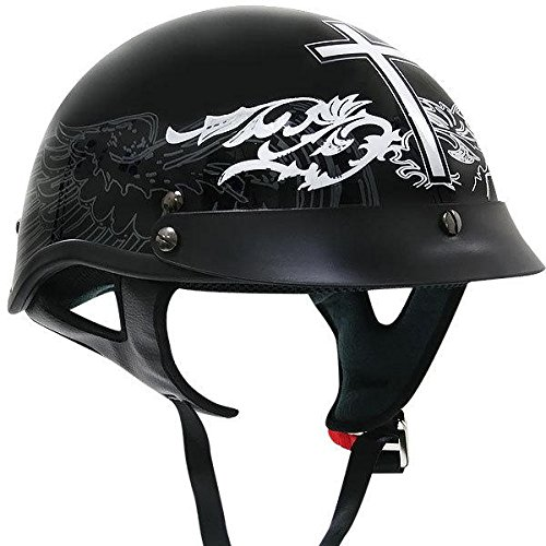 Outlaw Black Glossy Christian-cross Motorcycle Half-helmet - X-large
