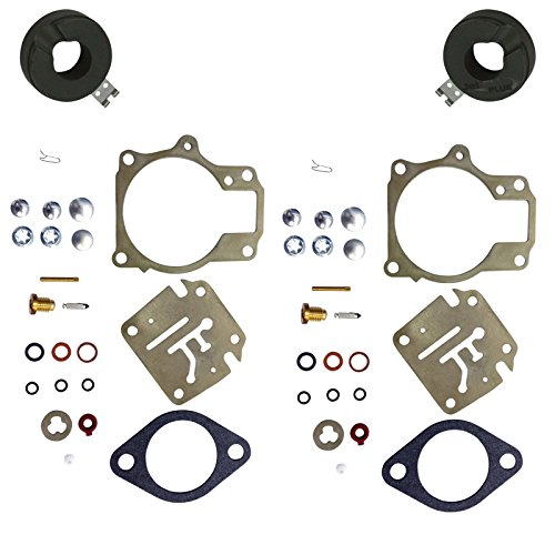 2 Pack of Deluxe JetSki Plus Brand Carburetor Carb Rebuild Repair Kit w FLOAT Fits MANY Johnson Evinrude 18 20 25 28 30 35 40 45 48 50 55 60 65 70 75 HP Outboard Motors SEE CHART For Fitment …