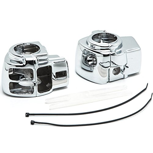 Krator Chrome Handlebar Switch Housings Control Cover Kit For 2006-2012 Harley Davidson Street Glide FLHX WITHOUT Cruise Control