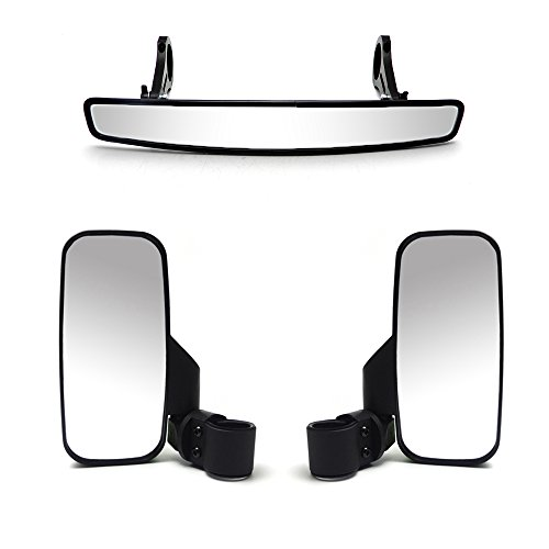 SideRear Mirror 15 Rear View Mirror 175 Clamp and Pair of 2 UTV Side View Mirror for Polaris RZR 800 1000 XP 900 1000 S Combo Package