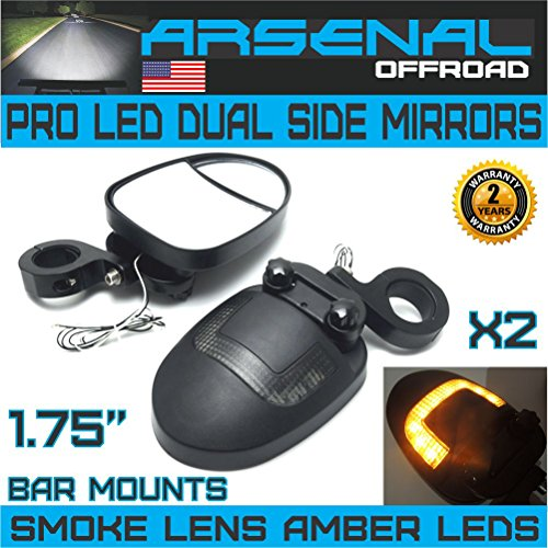 UTV LED Side View Mirrors Arsenal Pro Series Dual Mirrors Smoke Lens with Amber LED DRL or Turn signals 175 Inch Billet Aluminum Clamps for Polaris RZR 900 XP 1000 Turbo Kawasaki Arctic Cat Wildcats