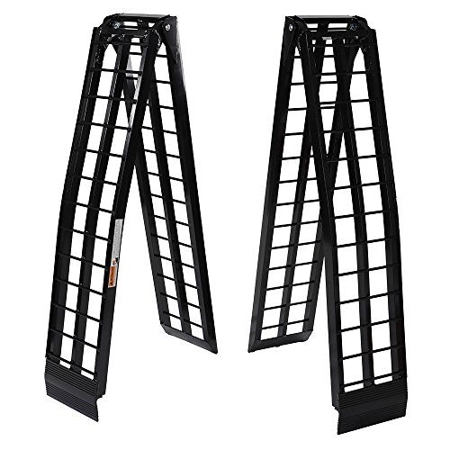 9 ft 1200Lb Aluminum Folding Dual UTV ATV Loading Ramps Truck Ramp Pair - Black