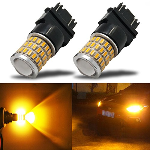 iBrightstar Newest 9-30V Super Bright Low Power 3156 3157 3057 4157 LED Bulbs with Projector Replacement for Turn Signal LightsAmber Yellow
