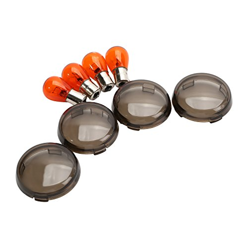 CICMOD 4 Pieces Motorcycle Turn Signal Light Amber Bulbs Smoke Lens Covers for Harley Sportster 883 1200 XL XR 2002 Up