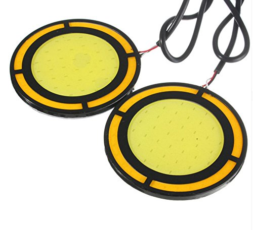 "WattBoys 2 Super Bright 72mm 283"" diameter Round COB LED Switchback Daytime Running Lights Side Turn Signal Lights Fog Lights in WhiteYellow"