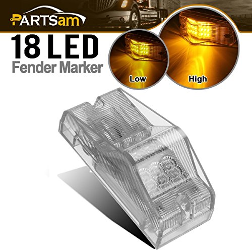Partsam 6 Freightliner Cab Amber Spyder 18 LED Signal Light Clear Lens Sealed Mid Turn
