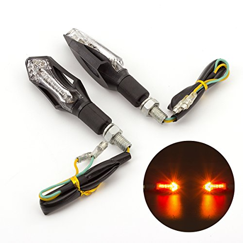 Rzmmotor 2pcs 14 LED 2 Wire Mini Stalk Arrow Motorcycle 8mm03'' Turn Signals Indicators Blinkers Lights Lamp Fits Metric Cruisers Sport Bikes Choppers Harley Davidsons Suzuki Honda Kawasaki Yamaha