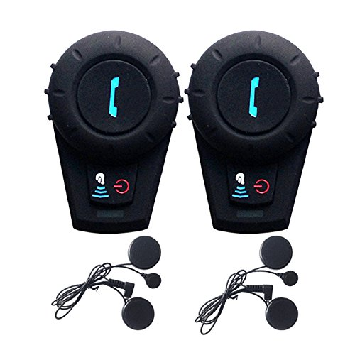 FreedConn Motorcycle Communication SystemsFDCVB Helmet Communication Bluetooth Headset for Motorbike Skiing Range-800M2-3Riders PairingBlack 2 Units with Soft Cable
