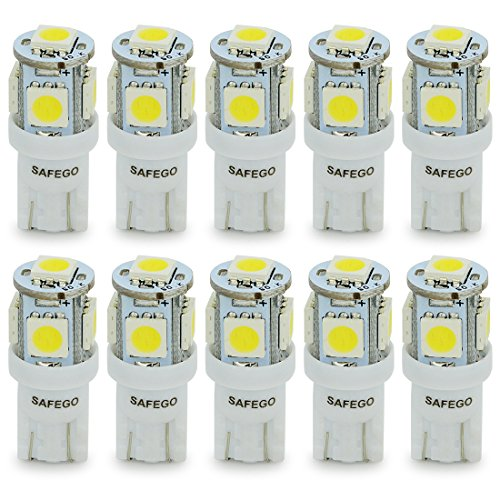T10 168 Led Car Bulb - Safego T10 194 2828 W5W LED 5-5050SMD Super Bright White Wedge LED Car Lights Interor Light Lamps Source Replacement License Plate Dome Bulbs SG-T10-5D-50W-10 Pack Of 10