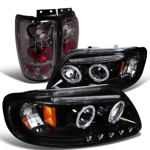 Ford Expedition Glossy Black Halo Projector Headlights Smoke Altezza Tail Lamps