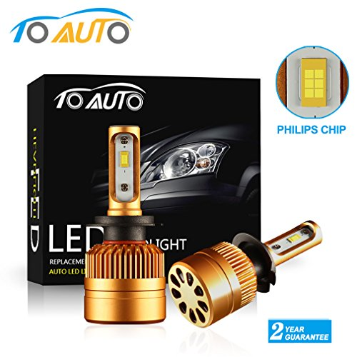 ToAUTO H7 LED Headlight Kit Bulbs with Super Bright Philips Chips All-in-One Conversion kit 8000LM 6000K  Replace for Hid or Halogen Bulbs - Xenon White