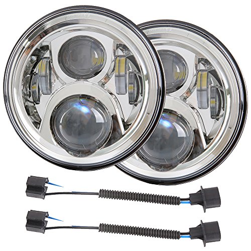 7 inch DOT LED Headlights Bulbs Kit Projector 6000K for Jeep Wrangler JK LJ JKU TJ CJ Sahara Rubicon Freedom Dragon Edition Unlimited Hard Rock Sport Headlamps Lights Lamp Chrome 2PCS