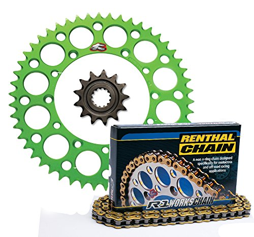 Renthal Grooved Front Ultralight Rear Sprockets R1 MX Works Chain Kit - 1347 GREEN - Kawasaki KX65