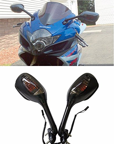 Black Suzuki Gsxr Gsx-R Gixxer 600 750 1000 Integrated Turn Signal Mirrors 2006-2017